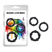 Love - Beaded Love Rings 3pkt -  Black