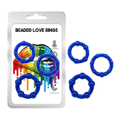 Love- Beaded Love Rings 3pkt - Blue